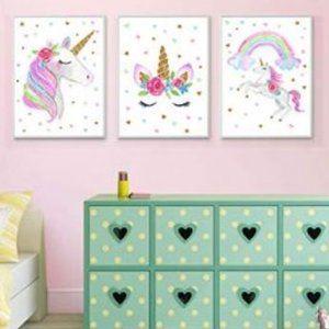 New 3 piece unicorn canvass wall art decor